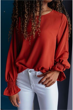 Rust Smocked Sleeve Blouse - BluePeppermint Boutique