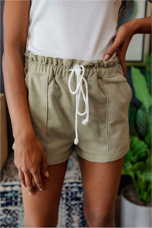 Casual Clenched Waist Sweat Shorts-Soft Olive - BluePeppermint Boutique
