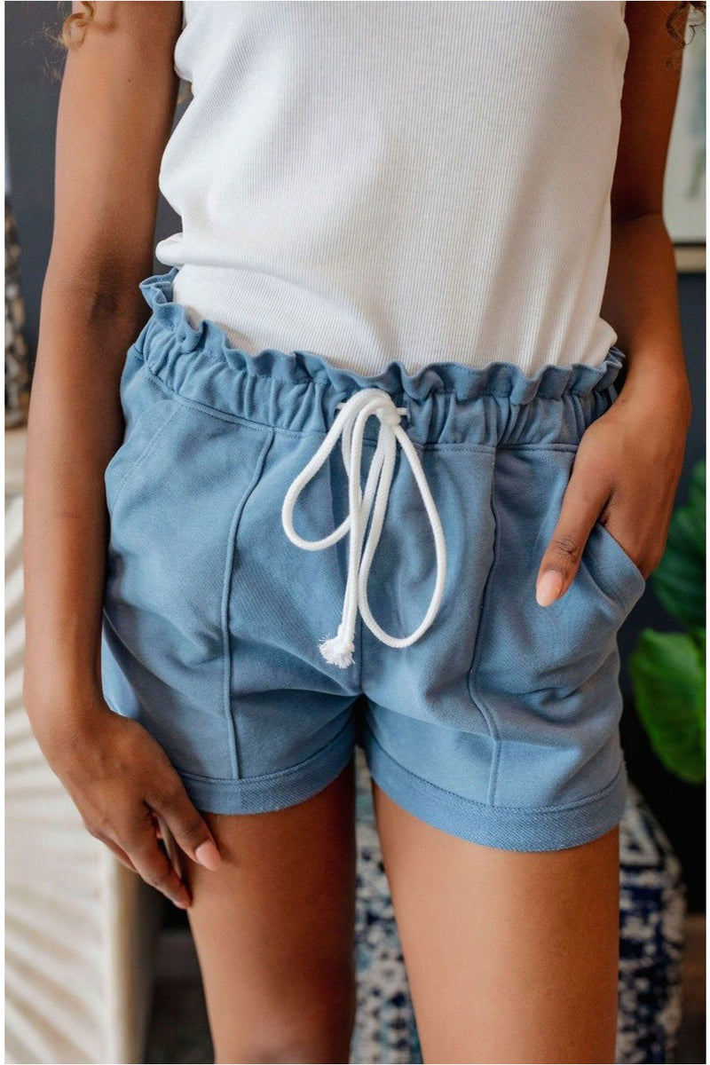 Casual Clenched Waist Sweat Shorts-Misty Blue - BluePeppermint Boutique