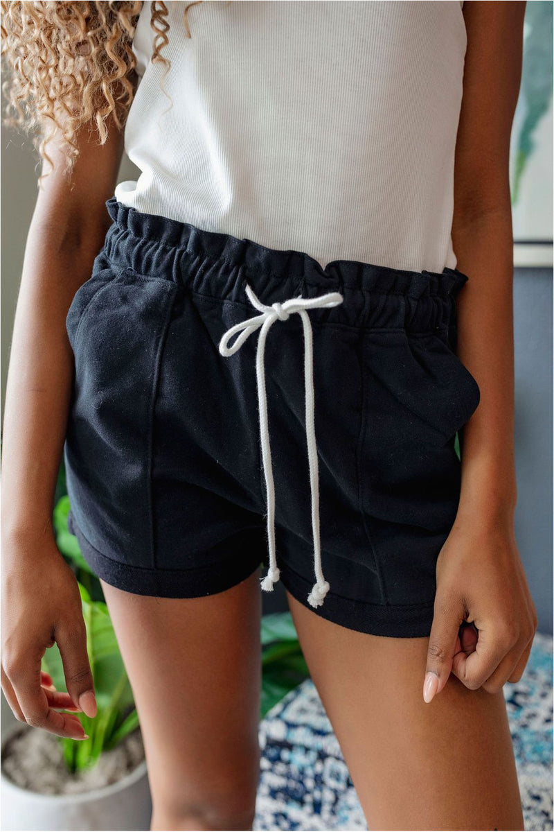Casual Clenched Waist Sweat Shorts-Black - BluePeppermint Boutique