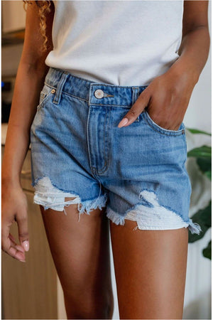 Danger High Rise Fray Hem Shorts - Medium Wash - BluePeppermint Boutique