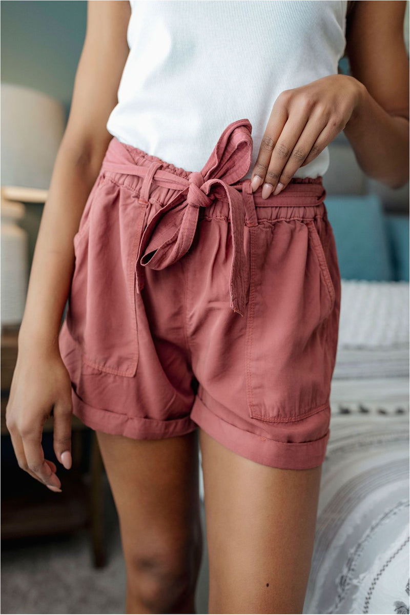 Brick Tie Belt Shorts - BluePeppermint Boutique