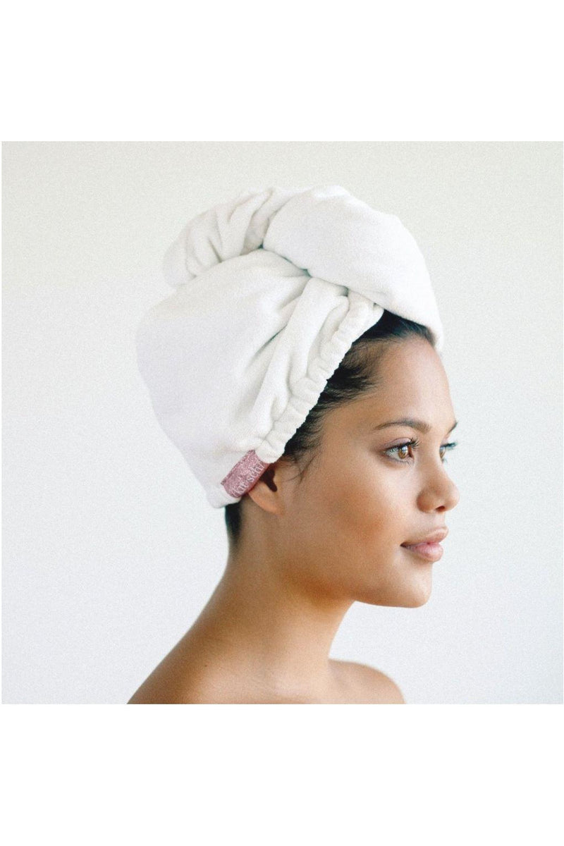 Microfiber Hair Towel-White - BluePeppermint Boutique