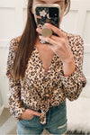 Leopard Satin Button Down - Peach - BluePeppermint Boutique