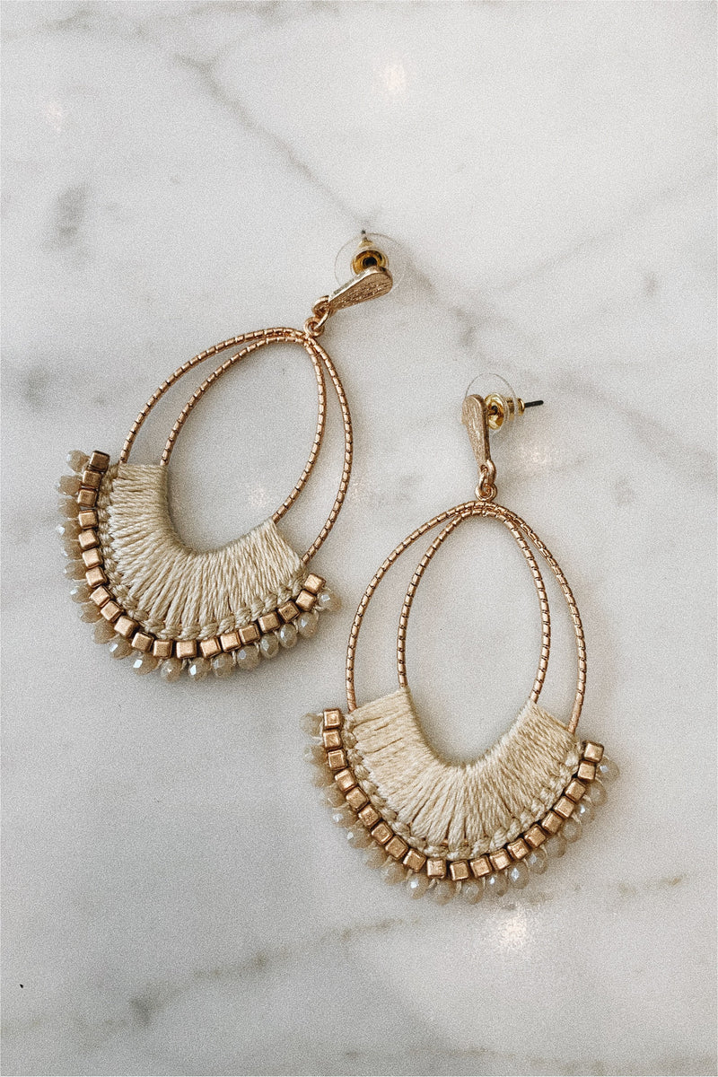 Thread and Bead Statement Earrings - Ivory