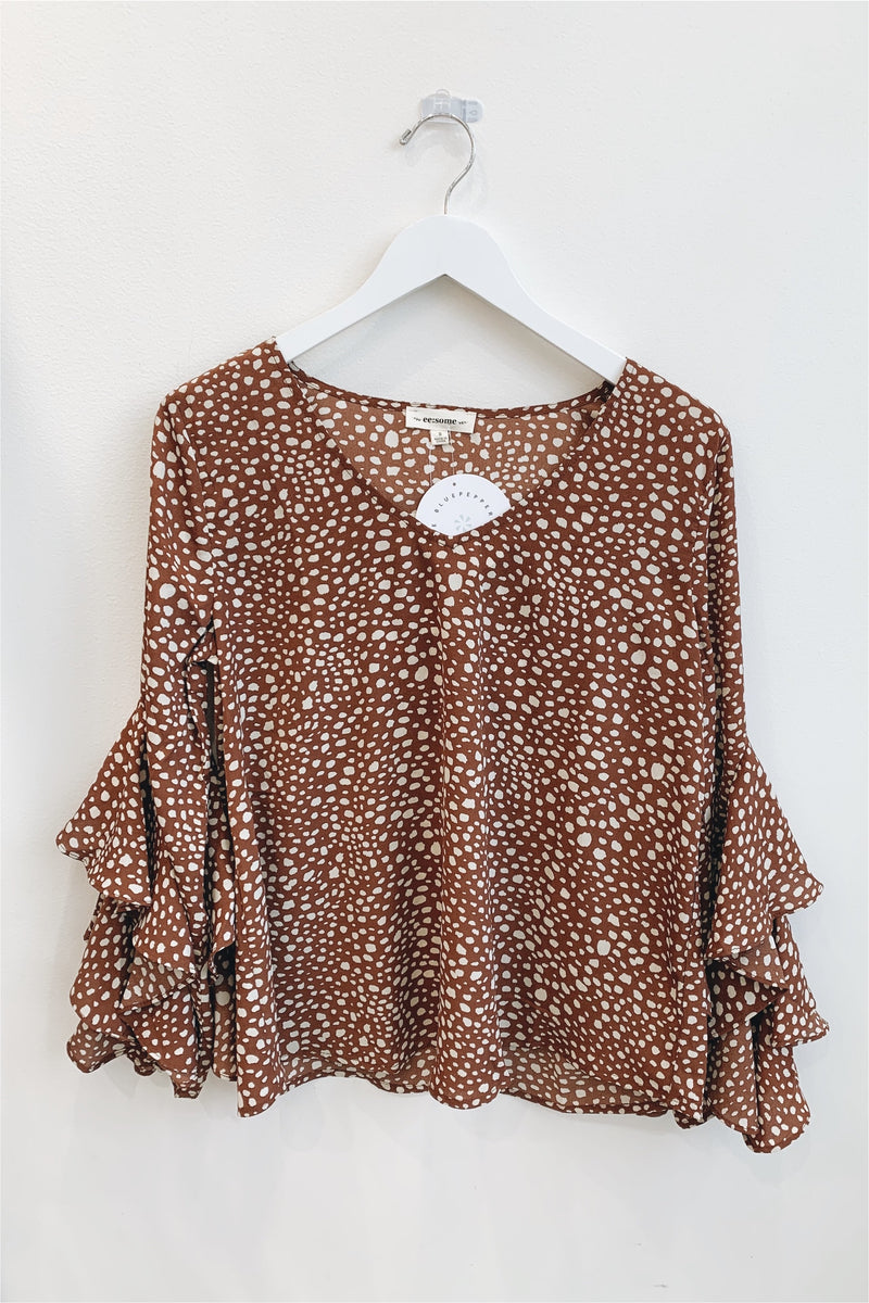 Polka Dot Ruffle Sleeve Blouse-Brown - BluePeppermint Boutique