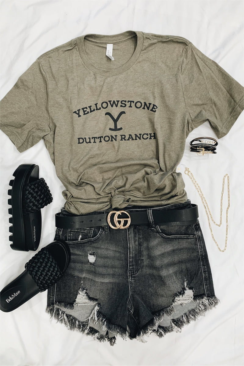 Yellowstone Dutton Ranch Tee-Heather Olive - BluePeppermint Boutique