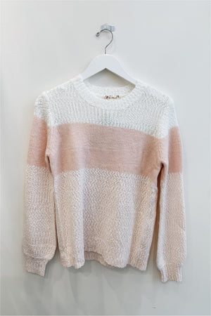 Pink/Cream Color Block Cozy Sweater - BluePeppermint Boutique