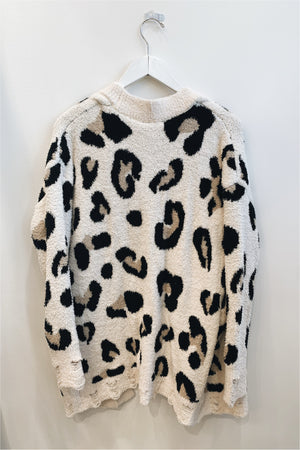 Natural Plush Leopard Cardigan