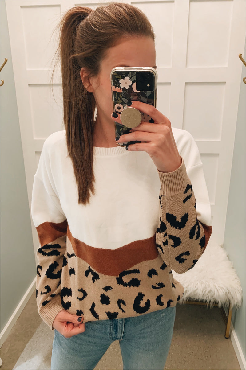 Khaki Leopard Block Sweater - BluePeppermint Boutique