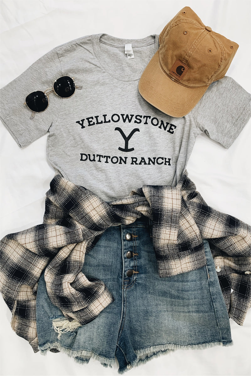 Yellowstone Dutton Ranch Tee-Light Grey - BluePeppermint Boutique