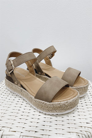Reade Platform Espadrille Sandals - Khaki - BluePeppermint Boutique