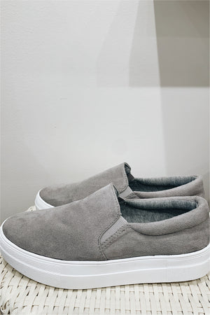 Suede Grey Slip On Sneaker - BluePeppermint Boutique