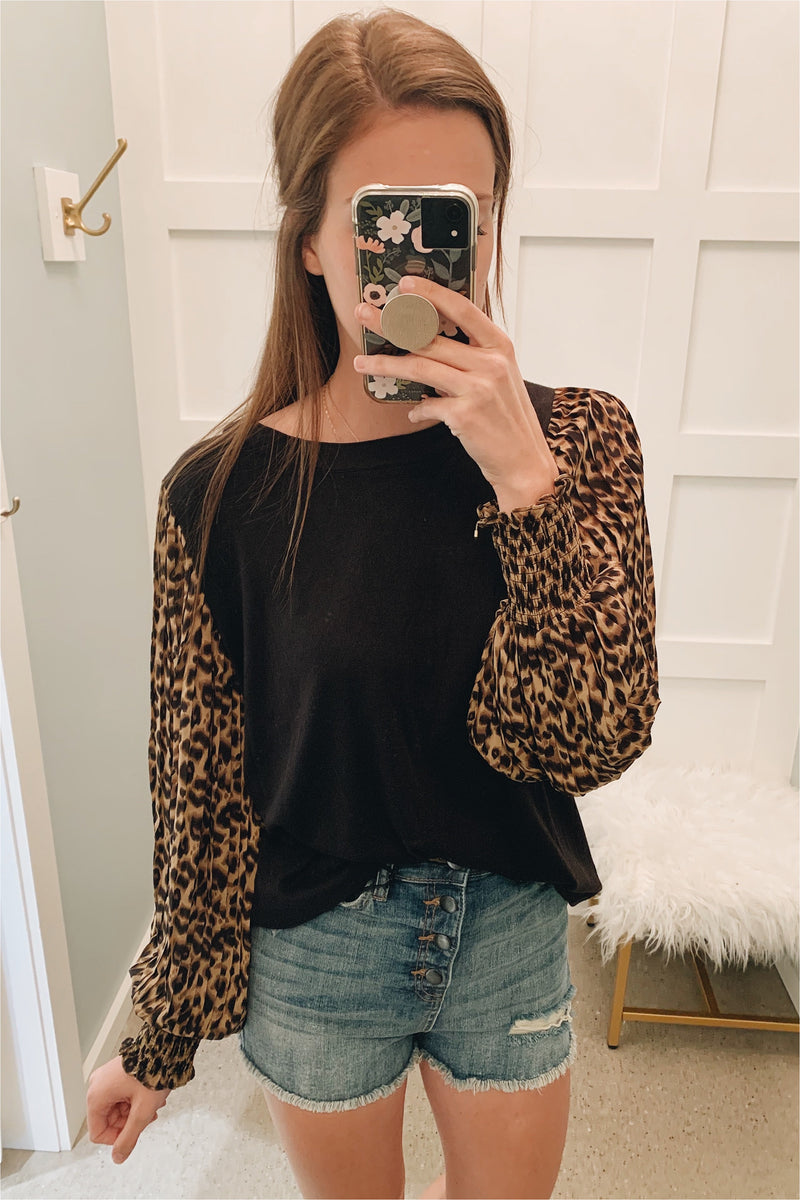 Cheetah Puffy Sleeve Top - BluePeppermint Boutique