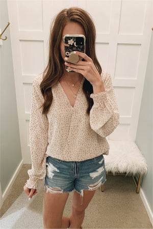 Sand Cheetah Surplice Blouse - BluePeppermint Boutique