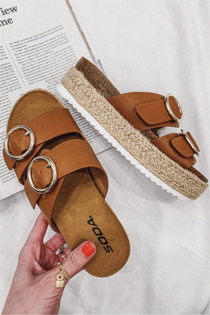 Round Buckle Espadrille Sandal - Tan - BluePeppermint Boutique