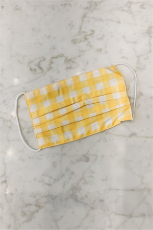 Child's Face Mask - Yellow Gingham - BluePeppermint Boutique