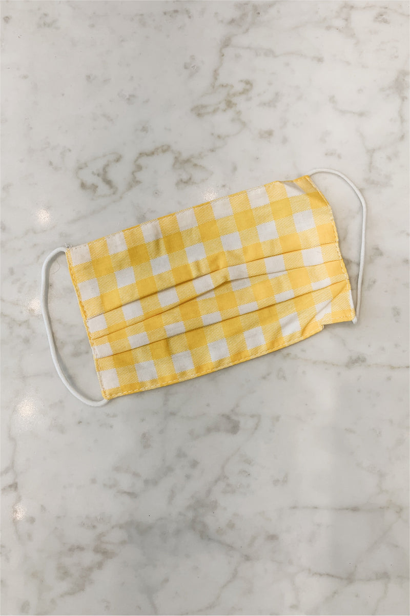 Child's Face Mask - Yellow Gingham