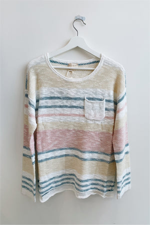 Pink/Teal Striped Slub Sweater - BluePeppermint Boutique