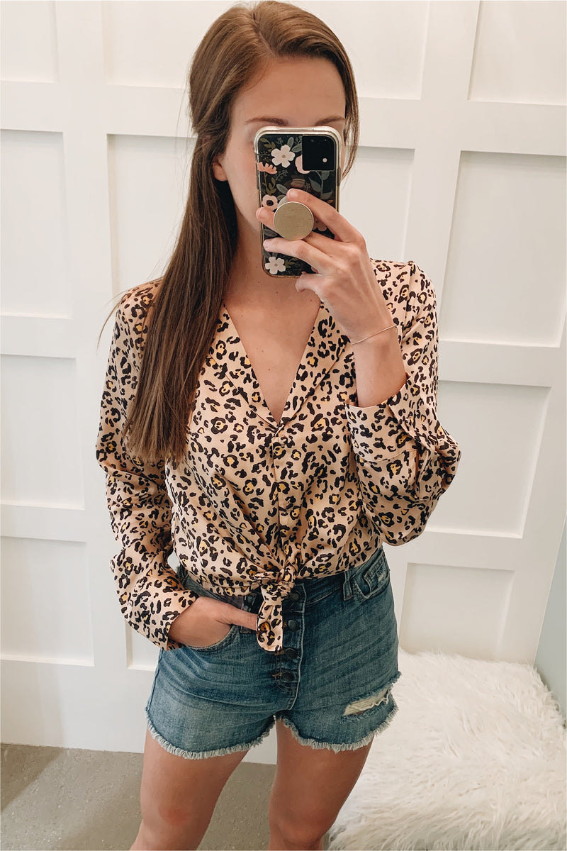Leopard Satin Button Down - Peach - FINAL SALE - BluePeppermint Boutique