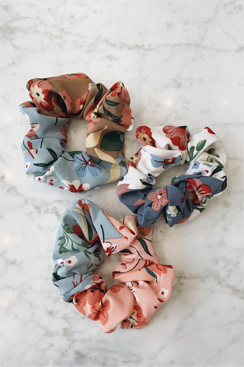 Set of 3 Scrunchies - Floral - BluePeppermint Boutique