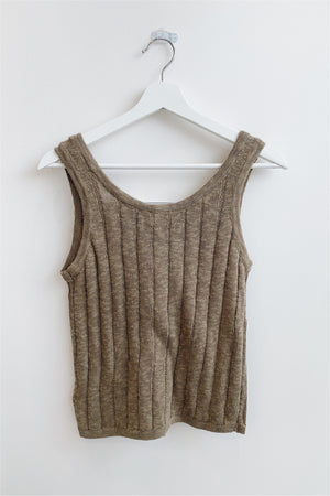 Ribbed Button Down Knit Tank - Olive - BluePeppermint Boutique