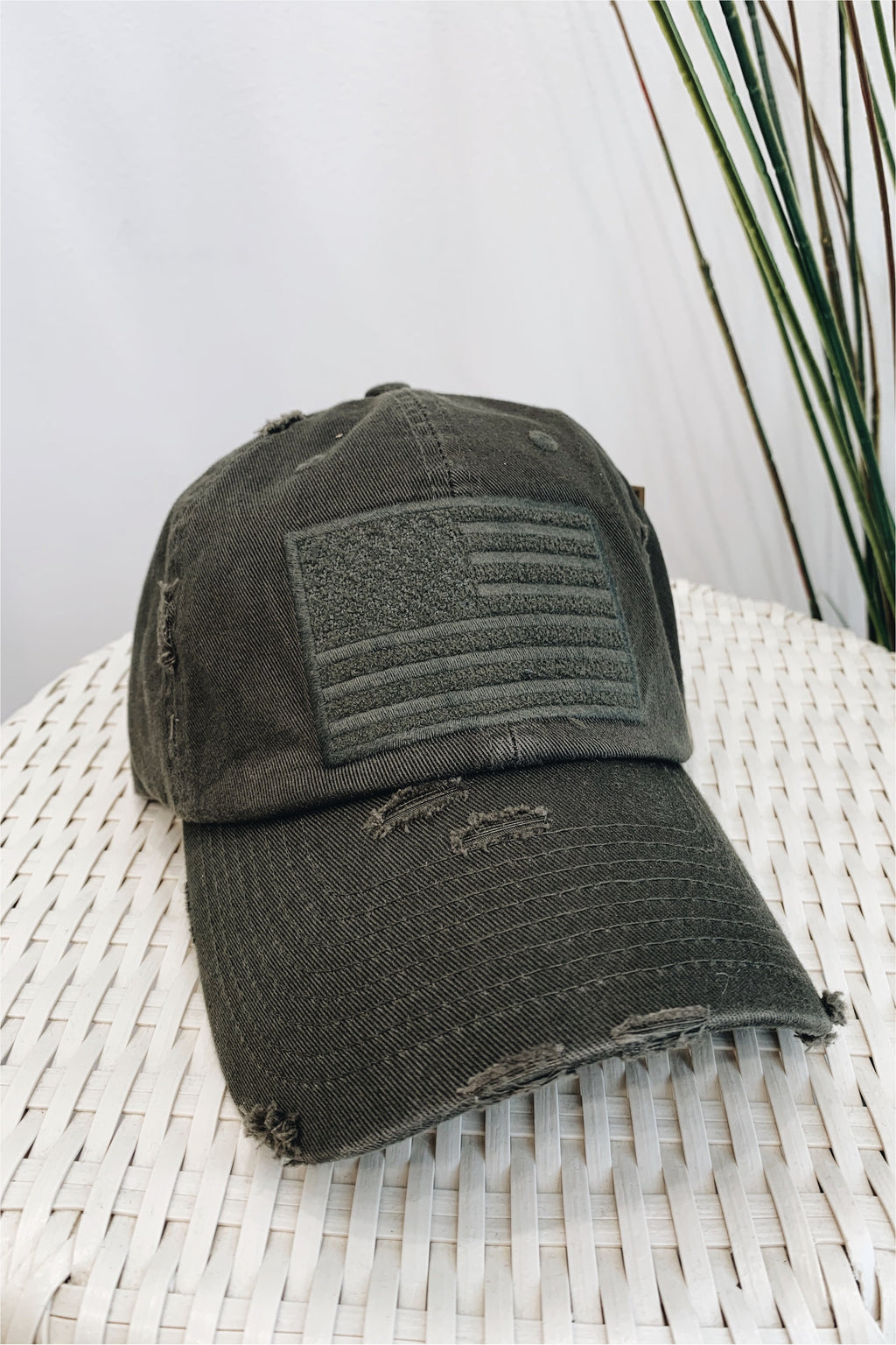 American Flag Distressed Baseball Hat- Olive