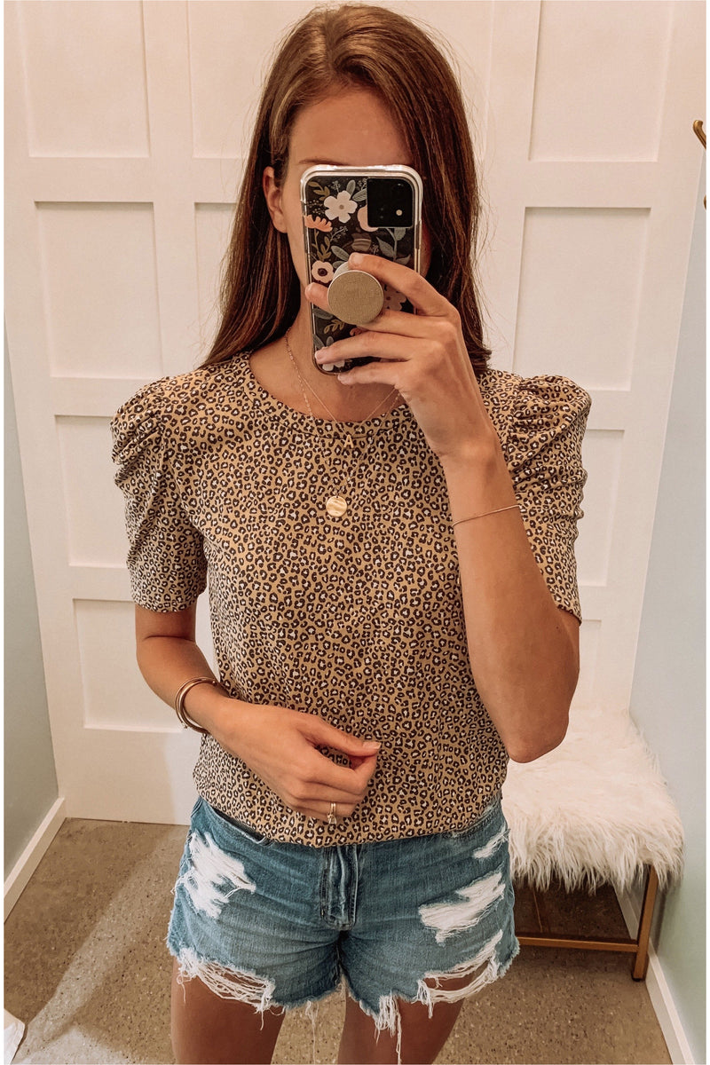 Taupe Cheetah Puff Shoulder Top