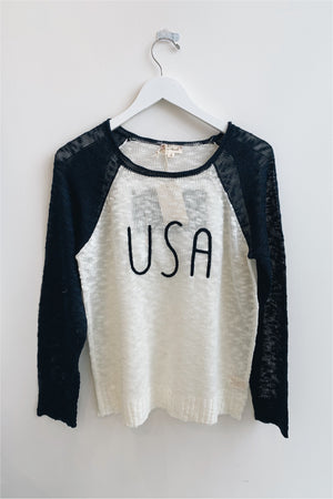 Ivory/Navy USA Embroidered Top - BluePeppermint Boutique
