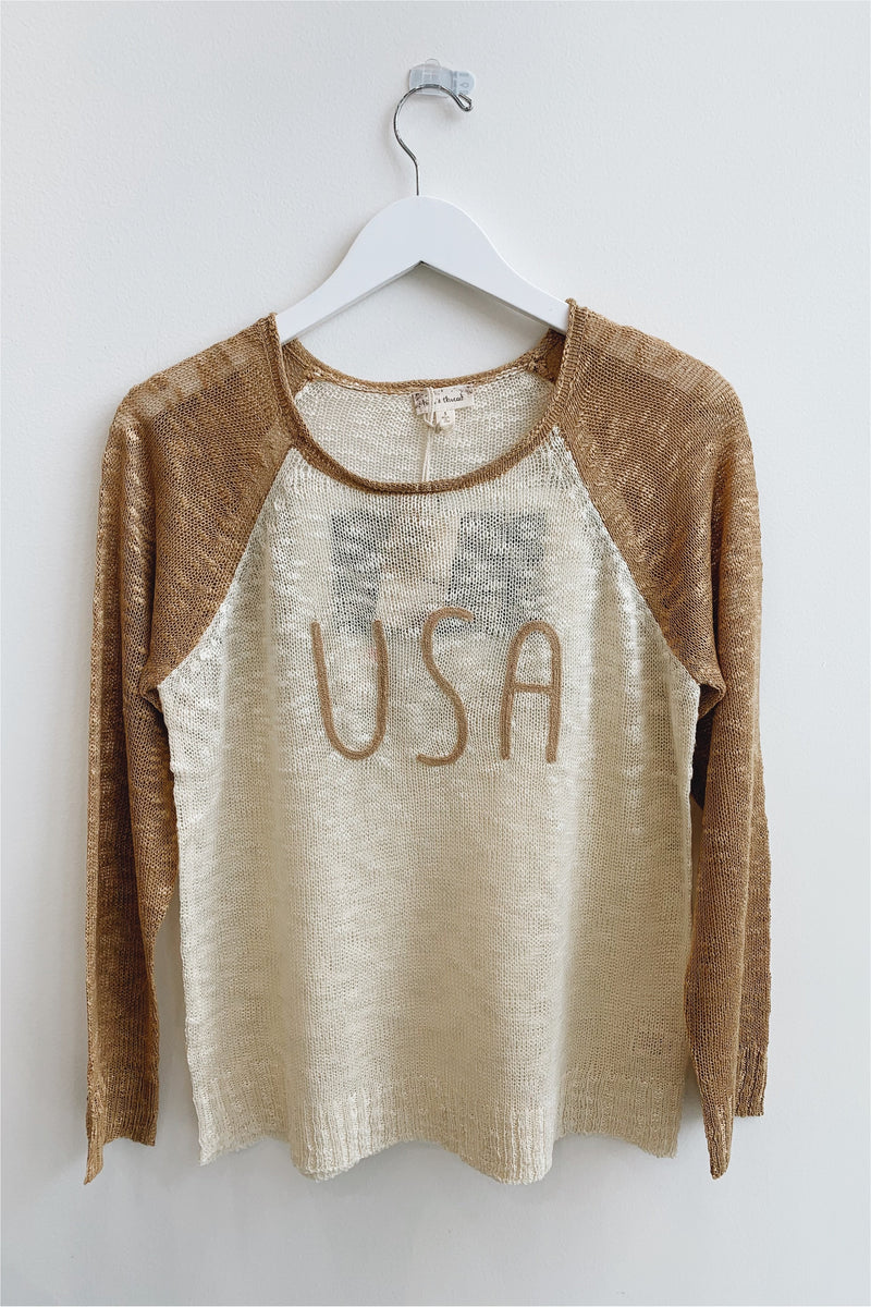 Taupe/Ivory USA Embroidered Top - BluePeppermint Boutique