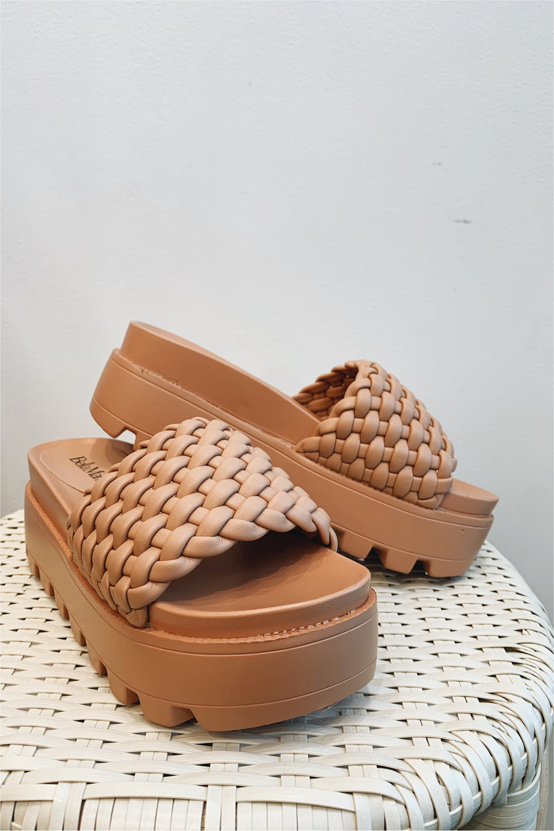 Braided Single Strap Platform Sandal-Nude
