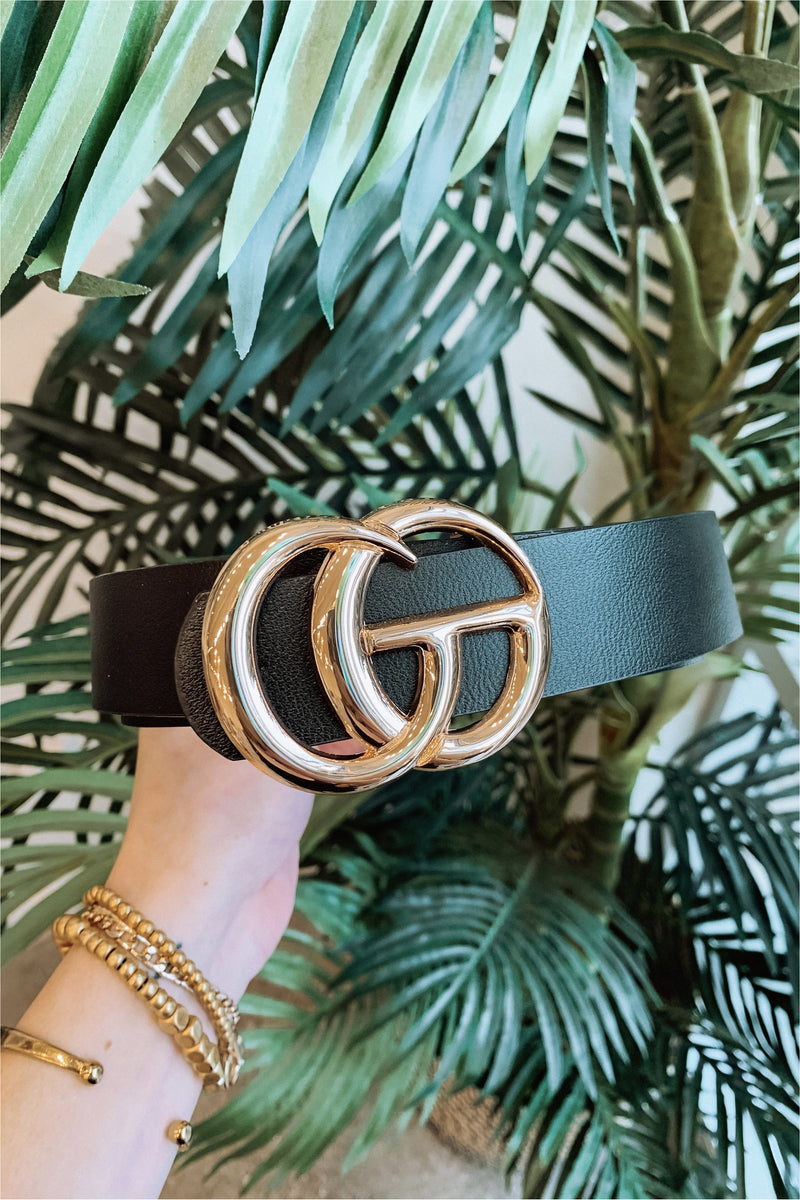 Classic Faux Leather Belt-Black - BluePeppermint Boutique