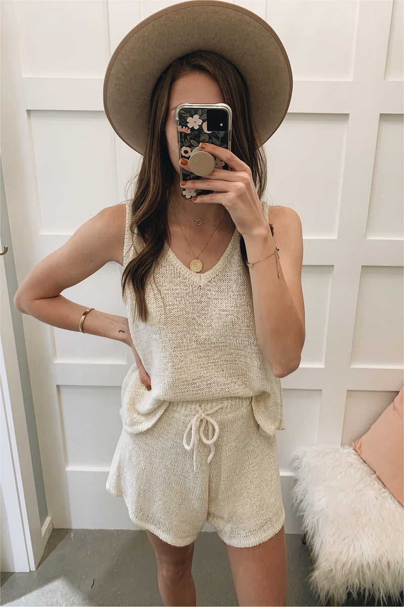 Cream Sleeveless Sweater Knit Set