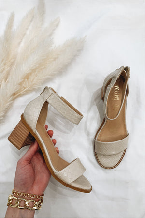 Beige Textured Block Heeled Sandals - BluePeppermint Boutique