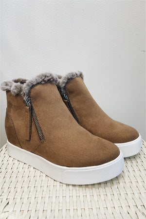 High Top Fur Sneakers- Dark Tan - FINAL SALE - BluePeppermint Boutique