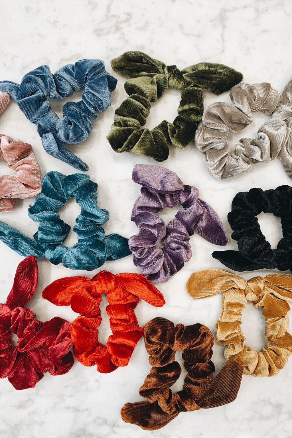 Velvet Bunny Tie Scrunchie - BluePeppermint Boutique