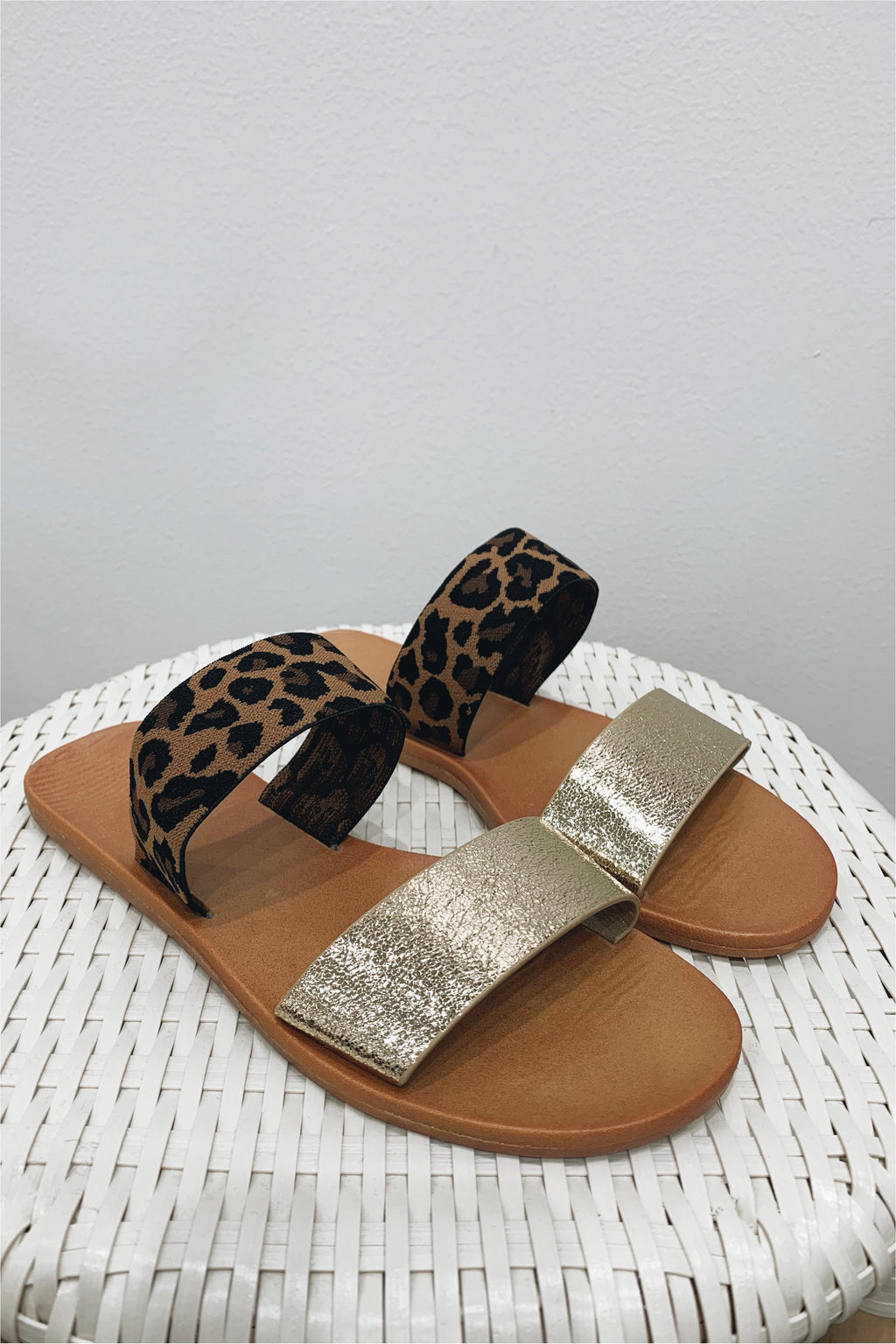 Gold/Leopard Two Strap Slide Sandals