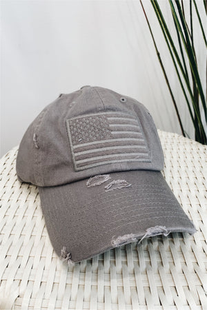 American Flag Distressed Baseball Hat - Light Grey