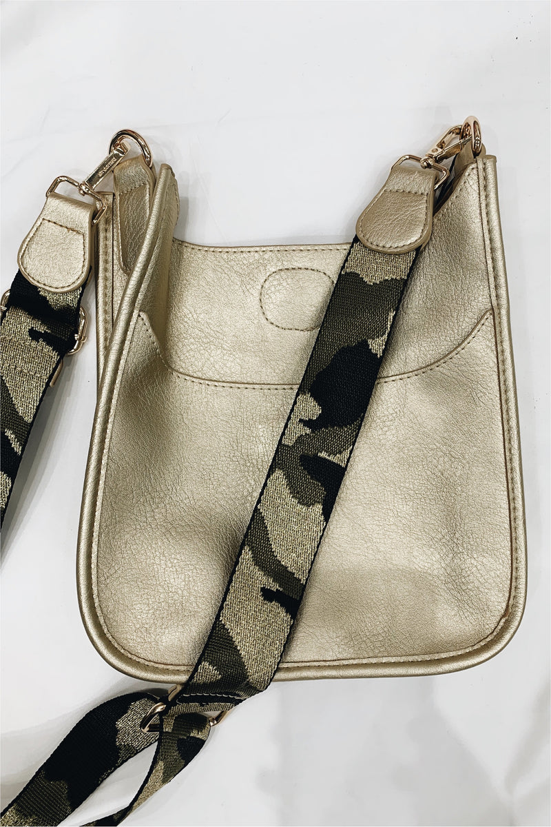 Ah-Dorned Gold Mini Messenger with Camo Strap
