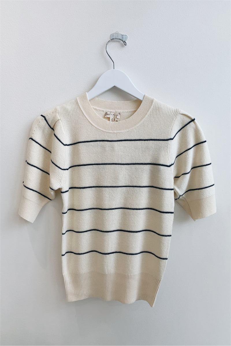 Cream/Navy Puff Sleeve Striped Knit Top - BluePeppermint Boutique