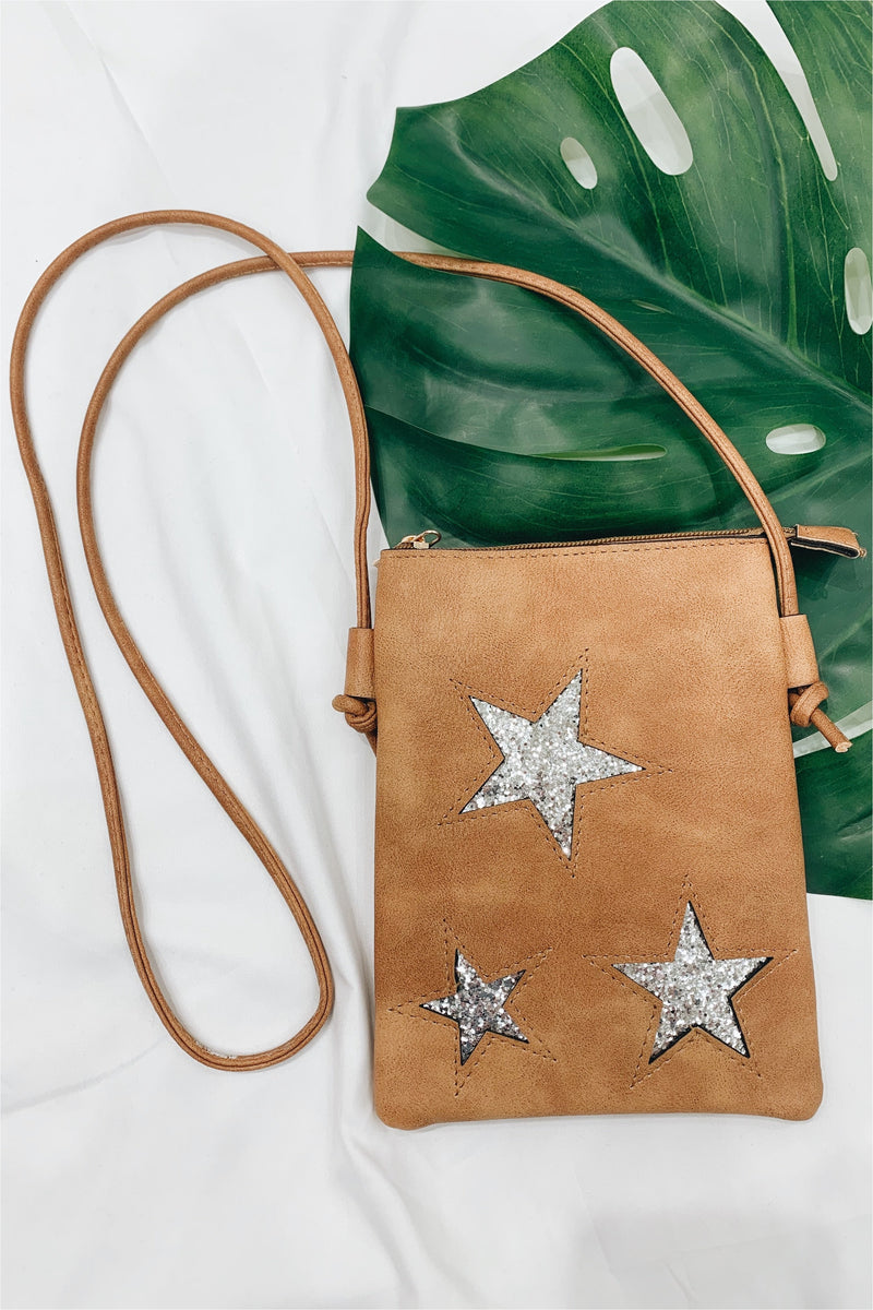 Camel Glitter Star Crossbody