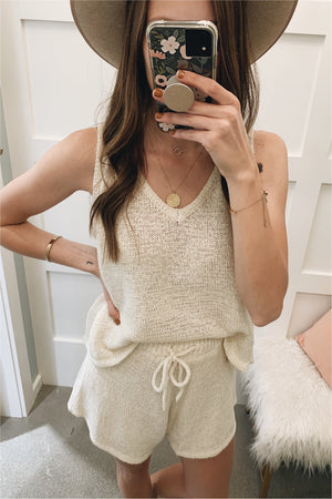 Cream Sleeveless Sweater Knit Set - BluePeppermint Boutique