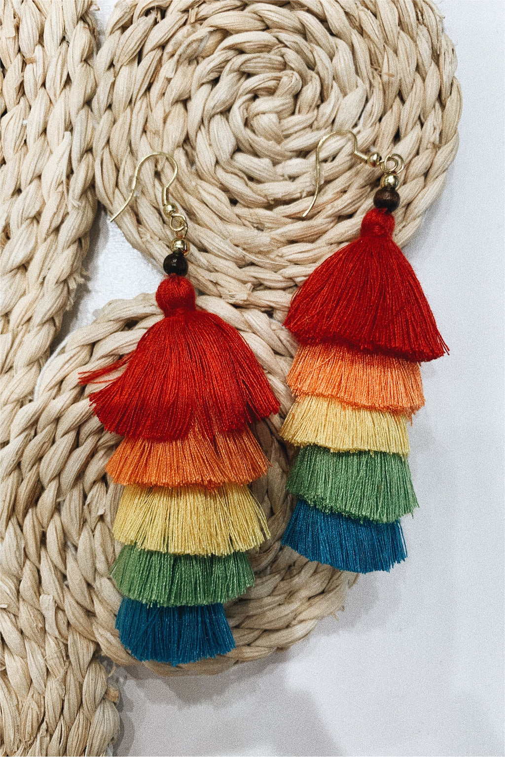 Rainbow Layered Tassel Earrings