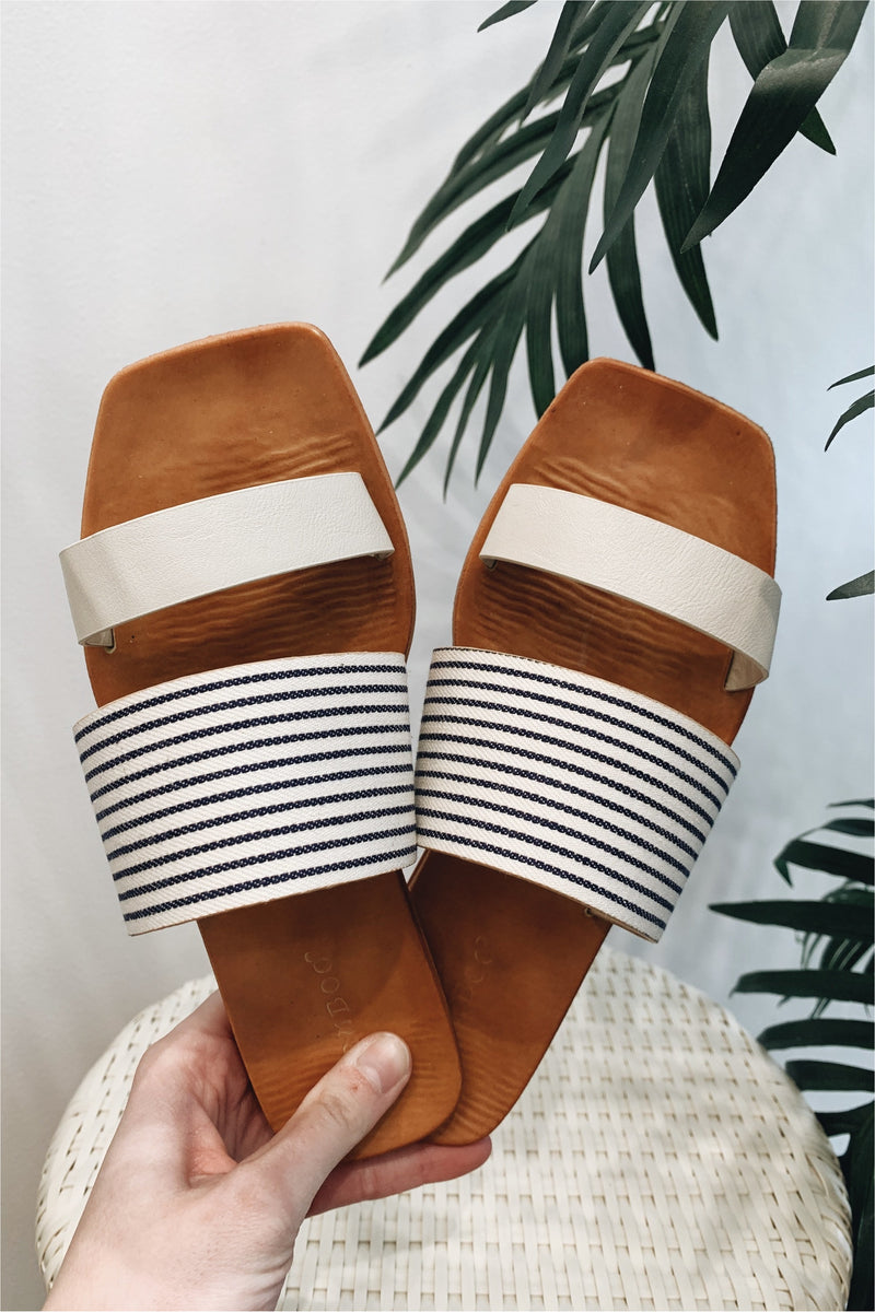 Striped Square Toe Slide Sandal - BluePeppermint Boutique