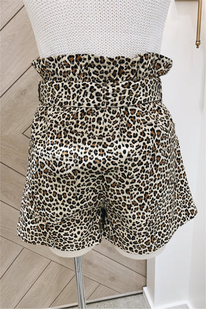 Leopard Button Fly Shorts