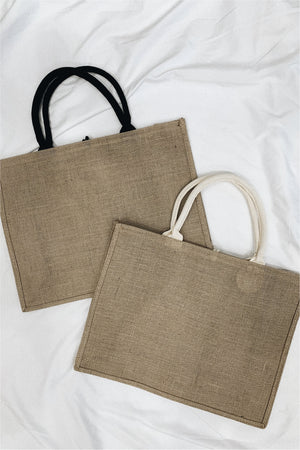 Hello Weekend Burlap Tote - BluePeppermint Boutique