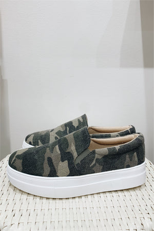 Canvas Camo Slip On Sneaker - BluePeppermint Boutique