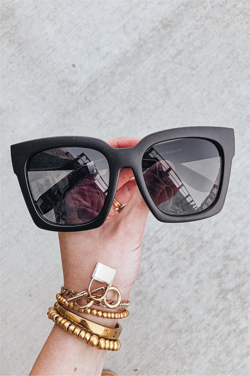 Tatum Matte Black Sunglasses - BluePeppermint Boutique