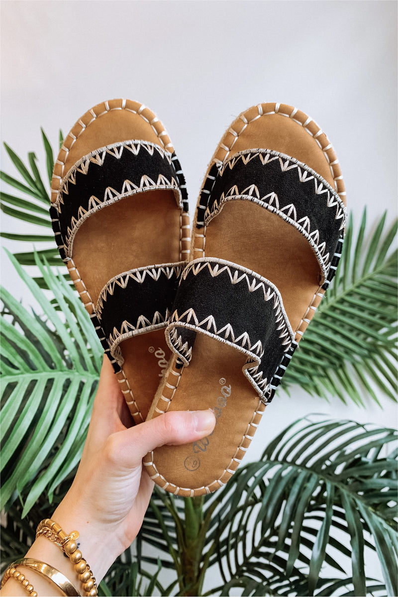 Black/Cream Olivia Aztec Sandals - BluePeppermint Boutique