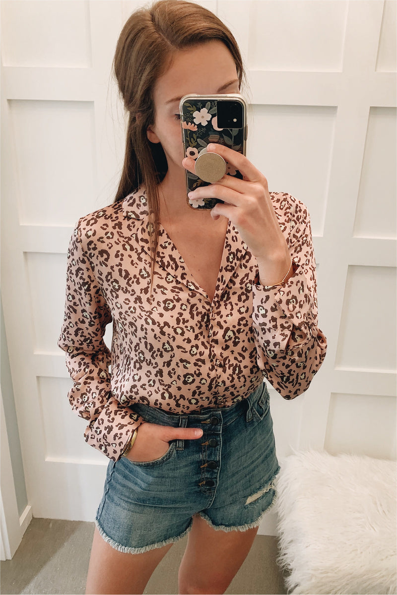 Leopard Satin Button Down - Mauve - BluePeppermint Boutique